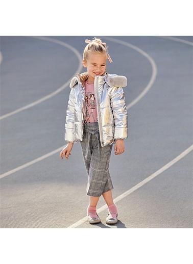 Mayoral Mayoral Kız Çocuk Ekose Bol Paça Pantolon Gri